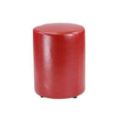 Tyler 23 in. Red Leather Round Stool