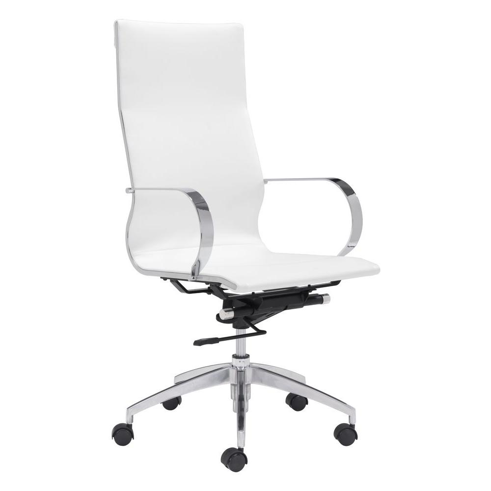 Zuo glider white leatherette high back office chair