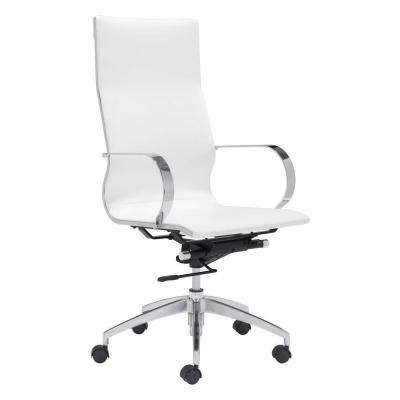 Glider White Leatherette High Back Office Chair
