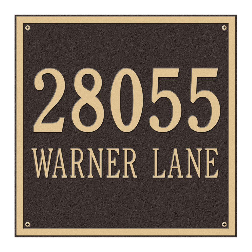 Whitehall Products Square Estate Wall 2-Line Address Plaque - Bronze/Gold