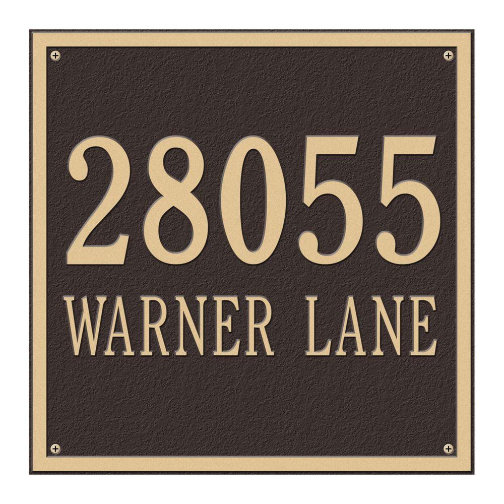 Square Estate Wall 2-Line Address Plaque - Bronze/Gold