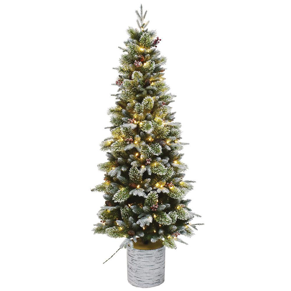 6.5 ft. Pre-Lit Incandescent Entry Potted Artificial ...