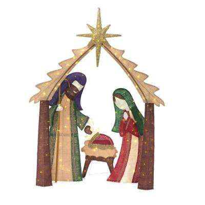 76 in christmas led lighted burlap nativity scene - Home Depot Outside Christmas Decorations