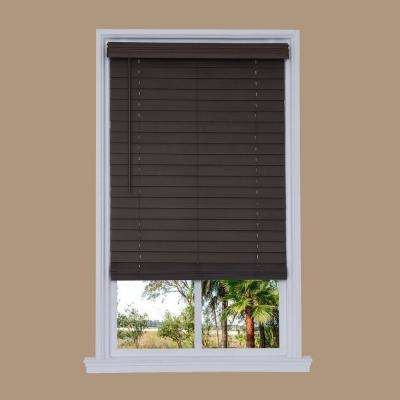 Cut-to-Width Walnut Cordless 2.5 in. Distressed Faux Wood Blind - 58.75 in. W x 72 in. L