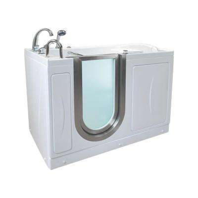 Royal 52 in. Acrylic Walk-In Whirlpool and MicroBubble Air Bathtub in White, Fast Fill Faucet Set, LHS Dual Drain