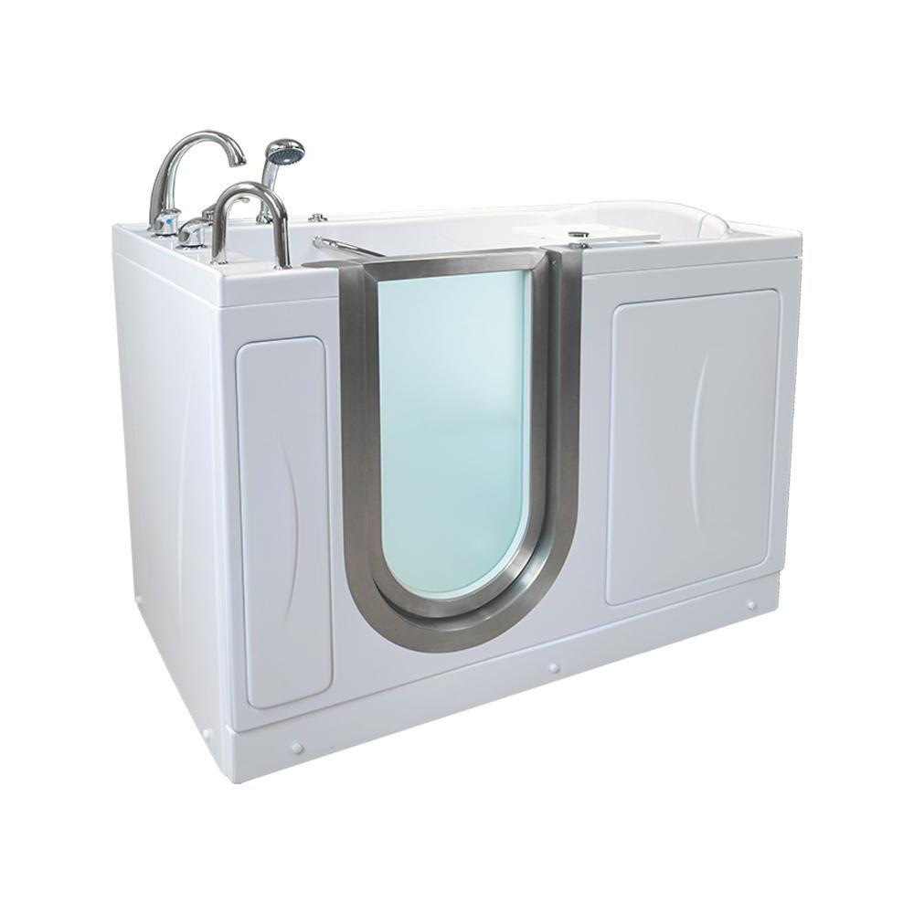 Royal 52 in. Acrylic Walk-In MicroBubble Air Bath Bathtub in White, Fast Fill Faucet, Heated Seat, LHS Dual Drain