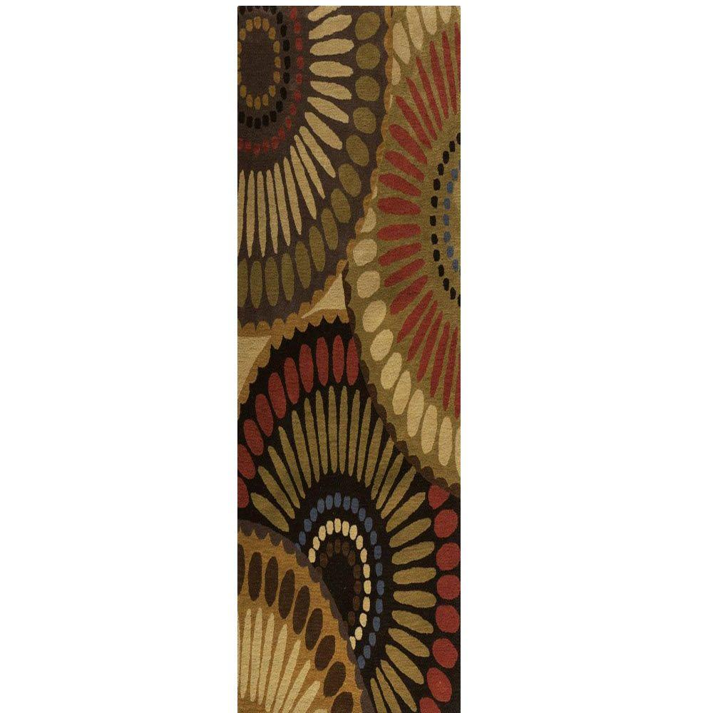Home Decorators Collection Harmony Bronze Green/Mushroom 2 ft. 9 in. x 14 ft. Runner