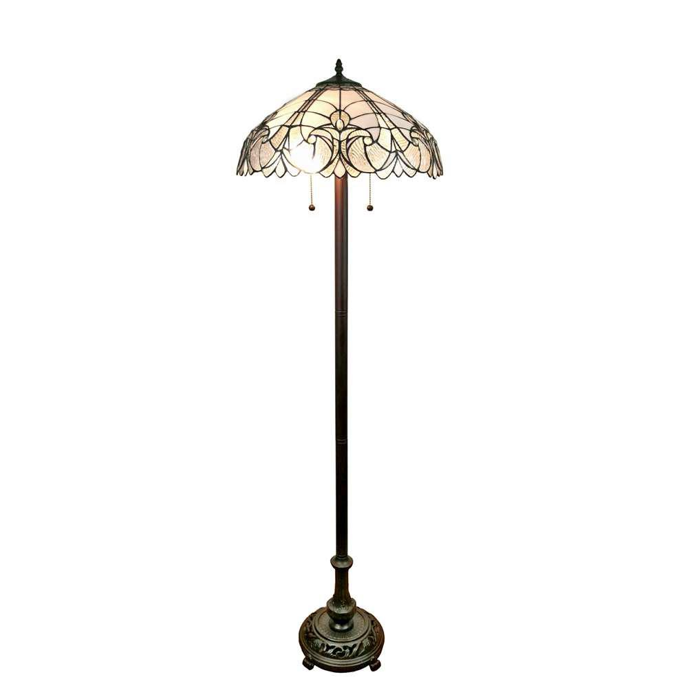 62 in. Tiffany Style Floral White Floor Lamp