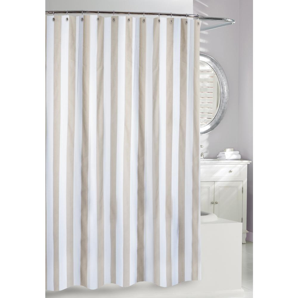 Lauren Stipe 71 In Beige And White Fabric Shower Curtain 205101