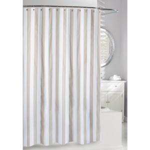 Beige And White Fabric Shower Curtain