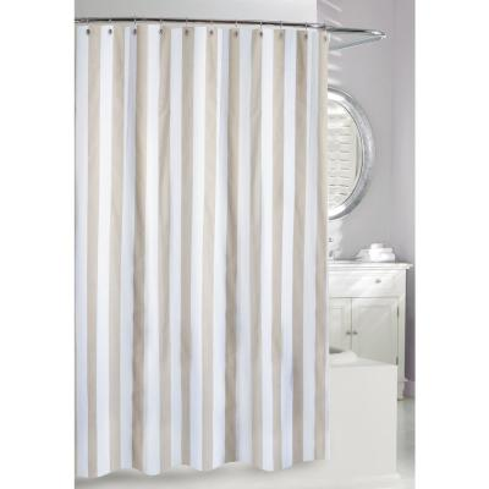 Lauren Stipe 71 in. Beige and White Fabric Shower Curtain