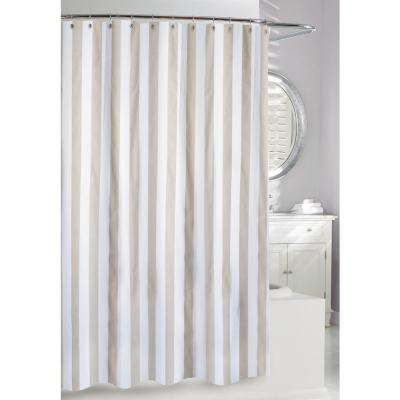Lauren Stipe 71 in. Beige and White Fabric Shower Curtain