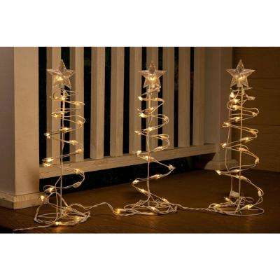 18 in. H Christmas Spiral Tree Decor with Lights