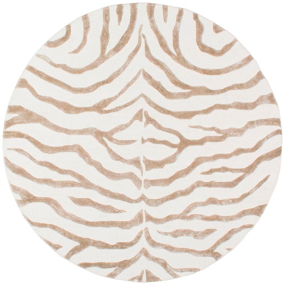 Plush Zebra Grey 6 ft. x 6 ft. Round Area Rug