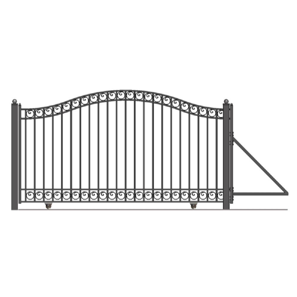 Dublin Style 18 ft. x 6 ft. Black Steel Single Slide Driveway Fence Gate