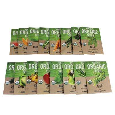Vegetable, Herb, Carrot, Tomato, Lettuce, Peppers and More Organic, Heirloom Non-GMO Garden Seed Collection (16-Packs)