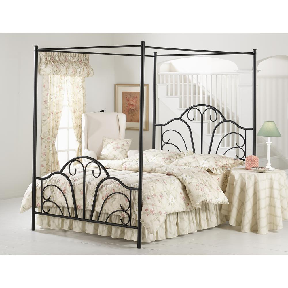 Hilale Furniture Dover Textured Black Queen Canopy Bed 348bqpr The Home Depot