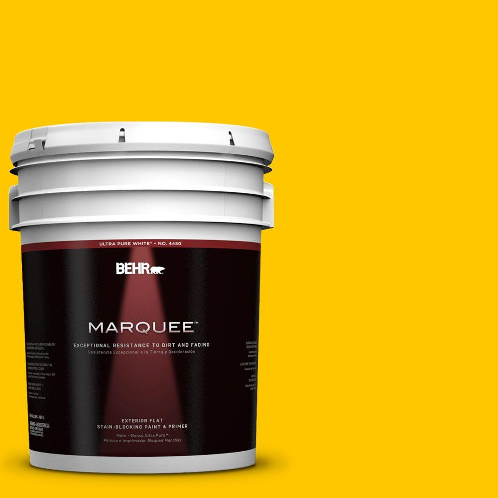 BEHR MARQUEE 5-gal. #370B-7 Yellow Flash Flat Exterior Paint