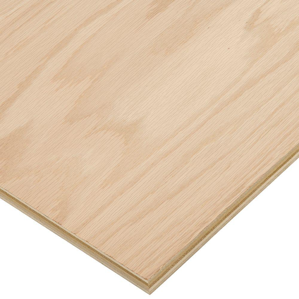 Columbia Forest Products 3 4 In X 4 Ft X 8 Ft Purebond Red Oak Plywood 165956 The Home Depot