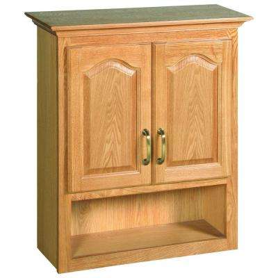 Richland 26 3/4 in. W x 30 in. H x 10 3/8 in. D Unassembled Bathroom Storage Wall Cabinet with Shelf in Nutmeg Oak
