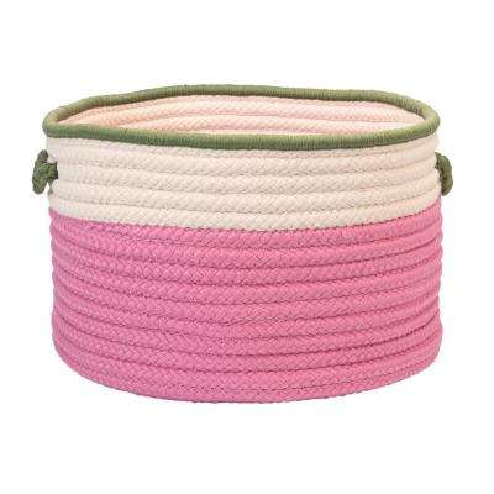 Indoor/Outdoor Pink/Green 22 in. x 22 in. x 14 in. Round Polypropylene Storage Bin