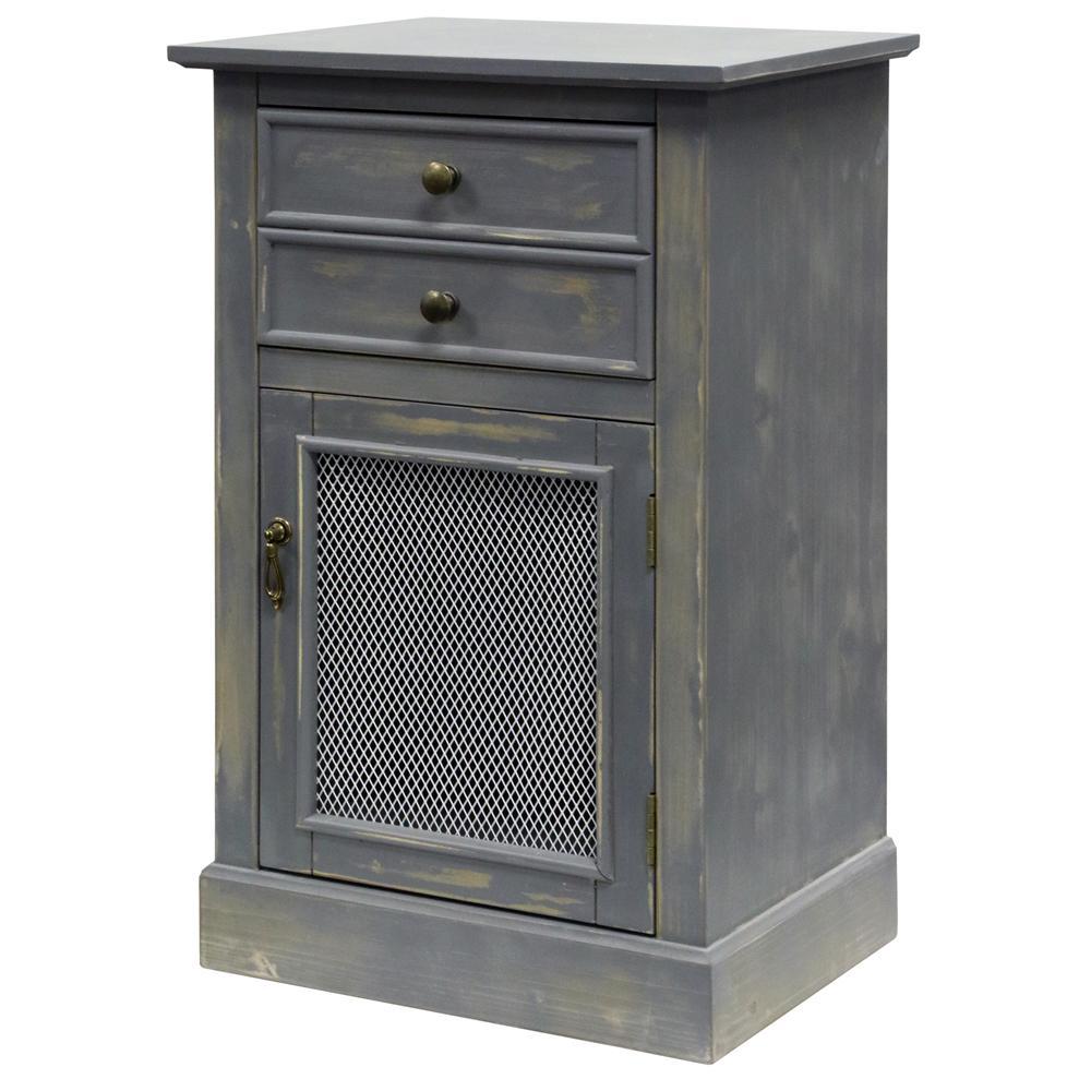 Rustic Gray 2-Drawer Single Mesh Door Wood Cabinet