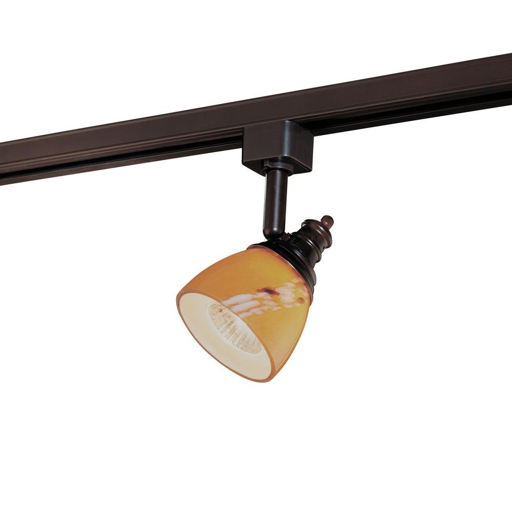 Hampton Bay Oil-Rubbed Bronze Linear Track Head with Art Glass Shade
