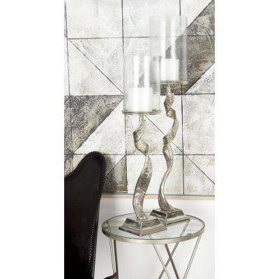 36 in. Silver Aluminum and Clear Glass with Twisted Post Hurricane Candle Holder