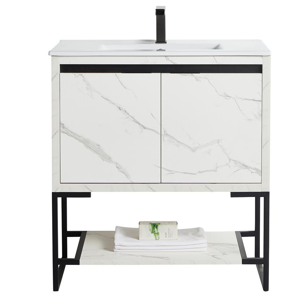 Zurich Collection 32 in. Single Bathroom Vanity 32 in. Wood and Ceramics Backsplash White Marble Grain
