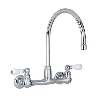 Heritage Wall-Mount 2-Handle Utility Faucet in Polished Chrome with Gooseneck Spout