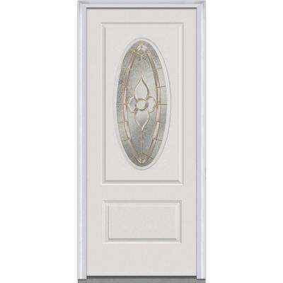 36 in. x 80 in. Master Nouveau Right-Hand 3/4 Oval Lite 1-Panel Classic Primed Fiberglass Smooth Prehung Front Door
