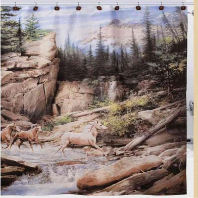 Hautman Bros Horse Canyon Nature-Themed Shower Curtain/Curtain Hooks/Bath Rug Set in Brown/White/Green/Gray