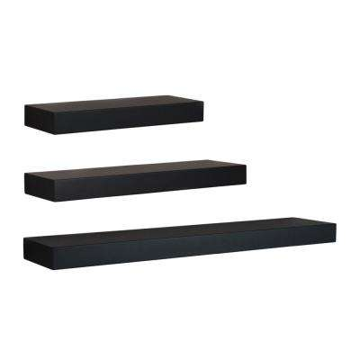 Maine 12 in. W x 5 in. D, 16 in. W x 5 in. D and 24 in. W x 5 in. D Black Floating Wall Shelf (Set of 3)