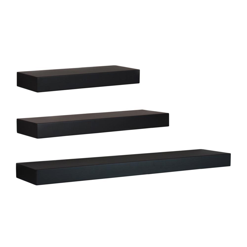 Maine 12 in. W x 5 in. D, 16 in. W x 5 in. D and 24 in. W x 5 in. D Black Floating Wall Shelf (Set of 3)