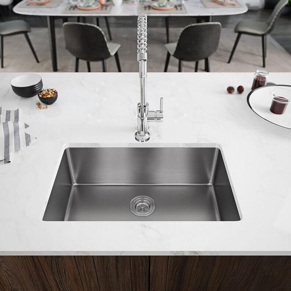 Rene Undermount Stainless Steel 28-1/8 in. Single Basin Kitchen Sink