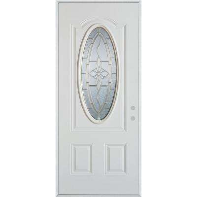 36 in. x 80 in. Traditional Brass 3/4 Oval Lite 2-Panel Prefinished White Left-Hand Inswing Steel Prehung Front Door