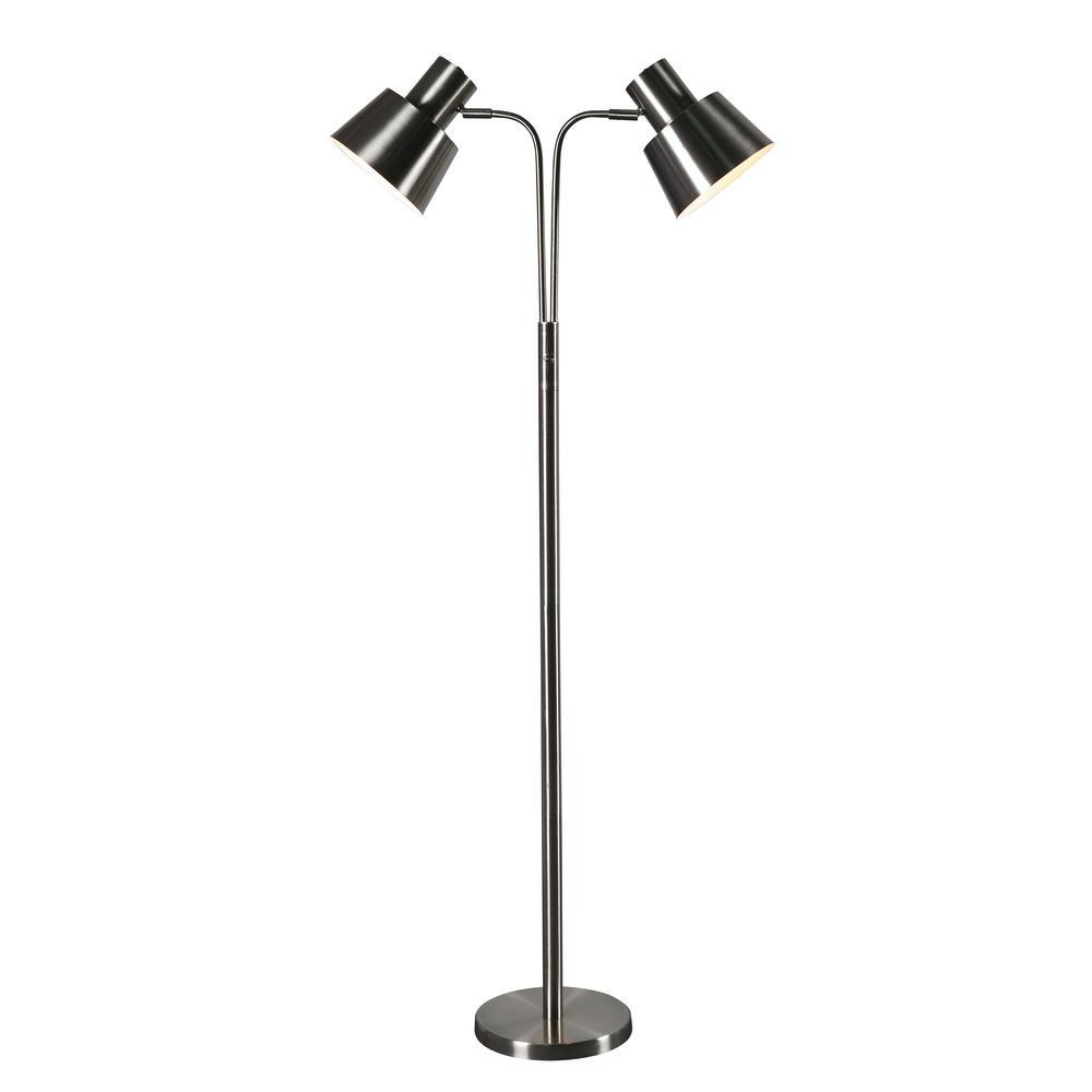 Kenroy Home Josephine 57 In. Brushed Steel Floor Lamp With Steel Shade