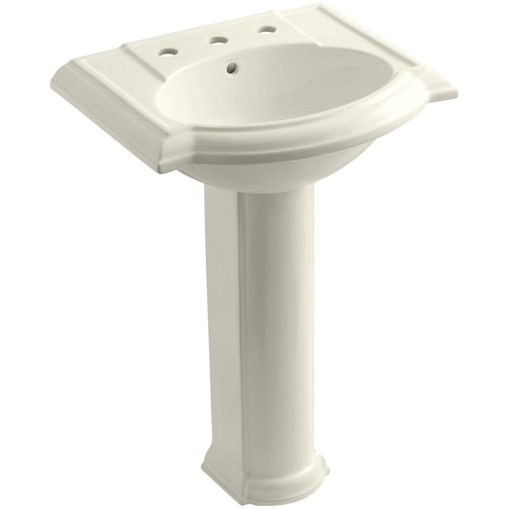 KOHLER Devonshire Vitreous China Pedestal Combo Bathroom Sink with 8 in. Widespread Faucet Holes in Biscuit with Overflow Drain