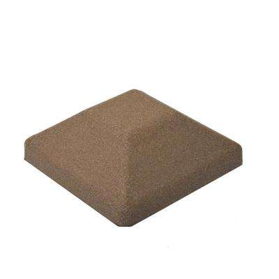 5 in. x 5 in. EcoStone Brown Composite Square Fence Post Cap