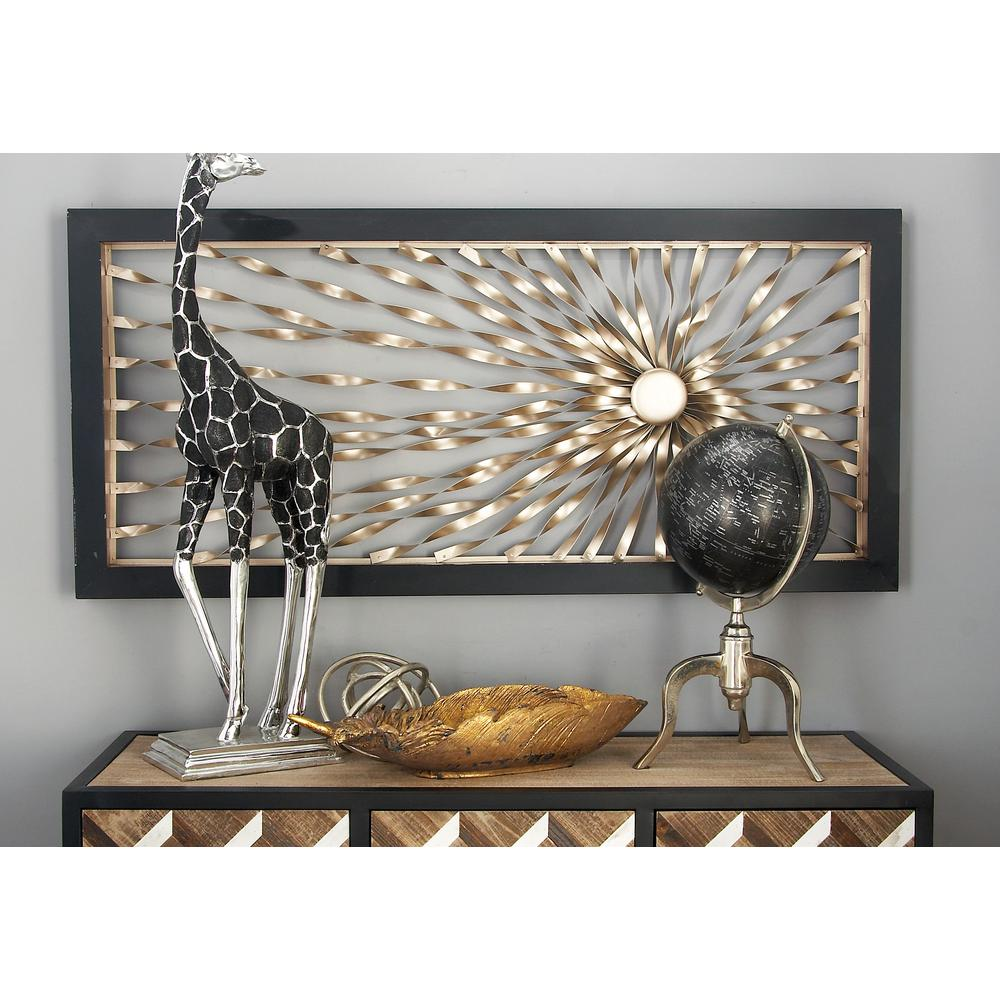 iron silver finished twisted sunburst wall art decor 56843 the home depot. Black Bedroom Furniture Sets. Home Design Ideas