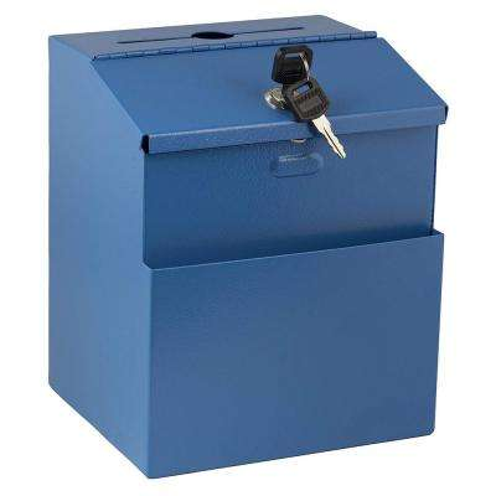 Wall Mountable Steel Locking Suggestion Box, Blue