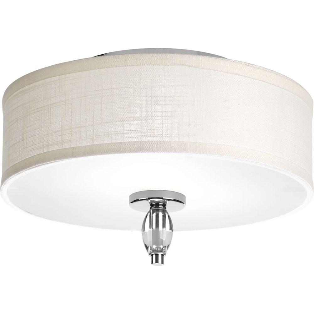 Progress Lighting Status Collection 2-Light Polished Chrome Flush Mount with White Textured Linen Fabric Shade