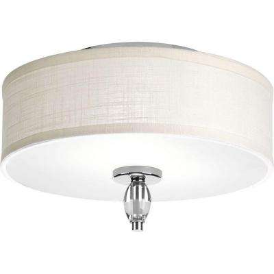 Status Collection 2-Light Polished Chrome Flushmount with White Textured Linen Fabric Shade