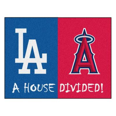MLB Dodgers/Angels House Divided Gray 3 ft. x 4 ft. Area Rug