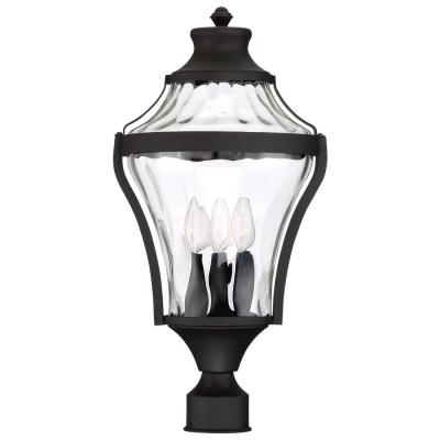 Libre Collection 4-Light Outdoor Black Post Light with Clear Water Glass
