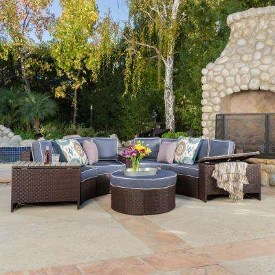 Lachlan Brown 8-Piece Wicker Outdoor Sectional Set with Navy Blue Cushions