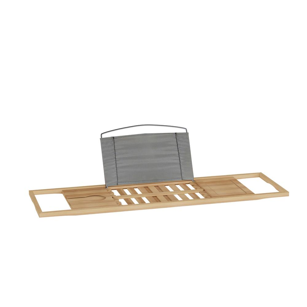 Lavish Home Bamboo Bath Caddy Tray with Extending Sides, Light Brown