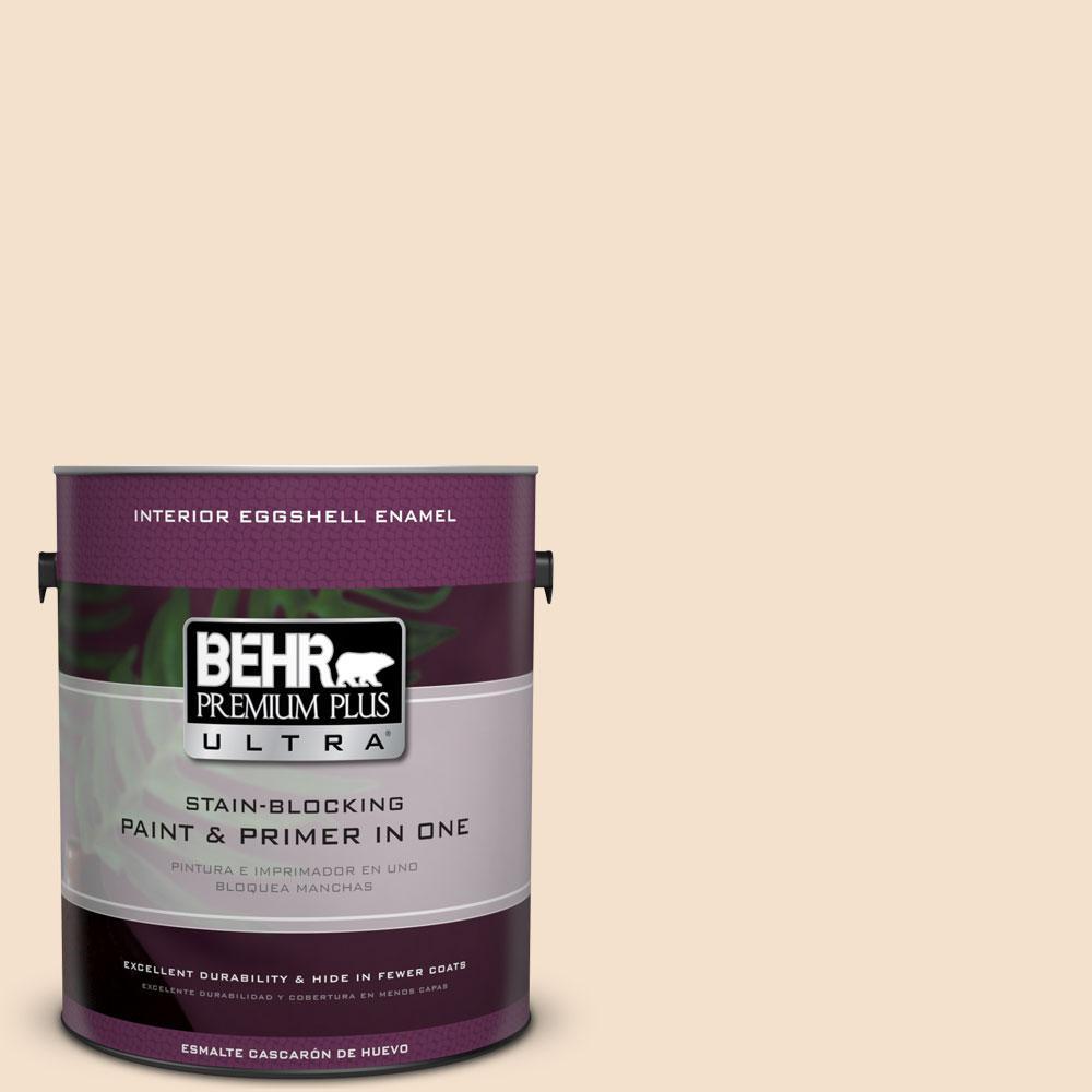 BEHR Premium Plus Ultra 1-gal. #BWC-08 Pebble Cream Eggshell Enamel Interior Paint