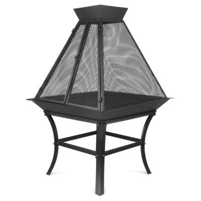 24 in. x 35 in. Square Metal Wood Burning Fire Bowl BBQ Grill Outdoor Fire Pit with Mesh Spark Screen Cover