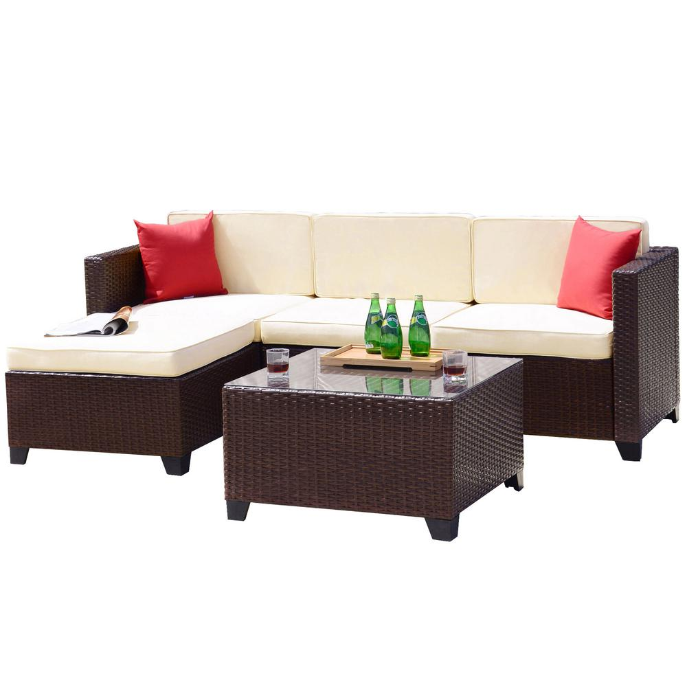 Crawford & Burke Iquitos Brown 5-Piece Wicker Outdoor Sectional Set with  Cream Cushions
